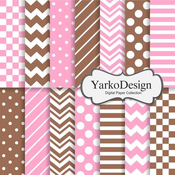 Pink And Chocolate Basic Geometric Digital Paper Set, 14 D
