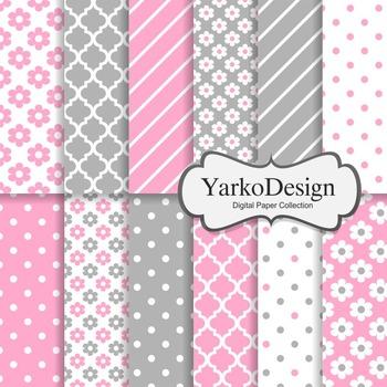 Pink And Grey Floral Digital Scrapbooking Paper Set, 12 Di