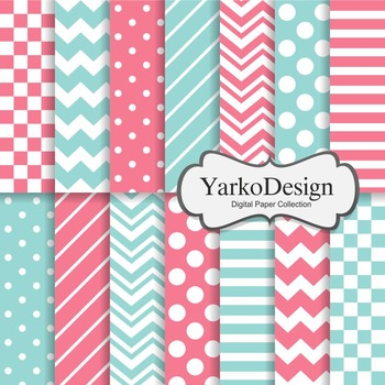 Pink And Turquoise Basic Geometric Digital Paper Set, 14 D