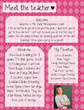 Pink Argyle Meet The Teacher Template **Editable**