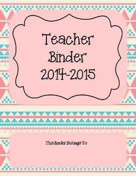 Pink Aztec Teacher Binder 2014-2015