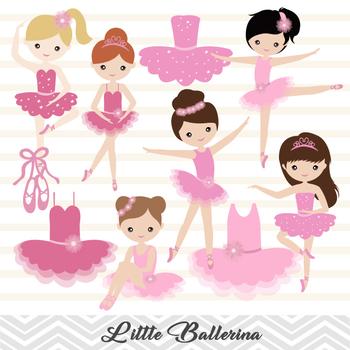 Pink Ballerina Digital Clip Art Pink Ballet Girl Clip Art