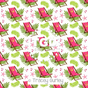Pink Beach Chair and Palm Frond Pattern Repeat on White di