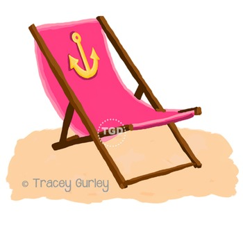 Pink Beach Chair with Anchor - with and without Sand Print