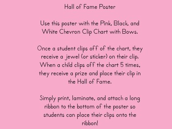 Pink, Black and White Chevron Hall of Fame Poster with Bow