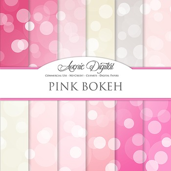 Pink Bokeh Digital Paper dots sparkle overly light circles