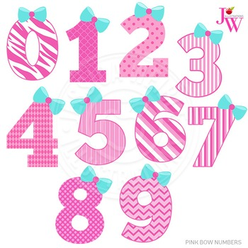 Pink Bow Numbers Cute Digital Clipart, Girl Number Graphics