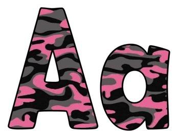 Pink Camo Bulletin Board Letters