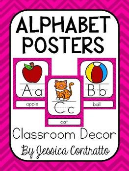 Pink Chevron ABC Posters