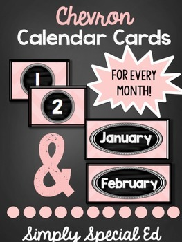Pink Chevron Calendar Cards- FULL YEAR