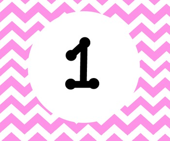 Pink Chevron Calender numbers 1-31