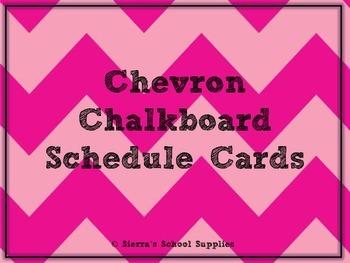 Pink Chevron Chalkboard Schedule Cards
