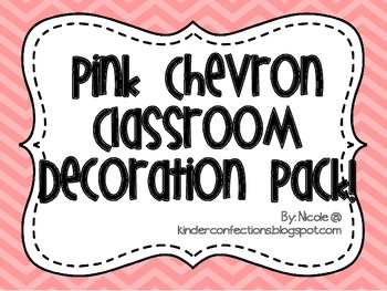 Pink Chevron Classroon Decoration Pack