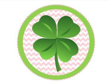 Pink Chevron Four Leaf Clover - St. Patrick's Day