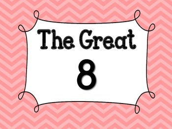 Pink Chevron Great 8 Printables