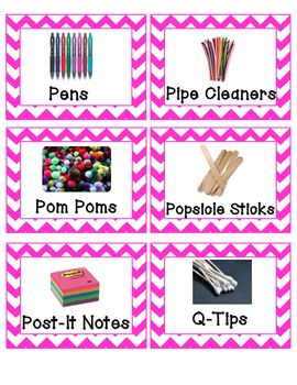 Pink Chevron Labels with Pictures