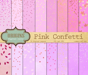 Pink Confetti Digital Paper Pack - Hearts and Stars Sparkl