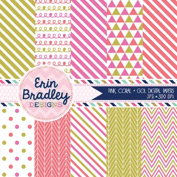Pink Coral and Gold Digital Papers