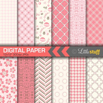 Pink Digital Paper, Pretty and Delicate Patterns Paper Pack