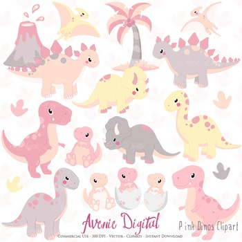 Pink Dinosaur Digital Clipart, Cute animals illustrations