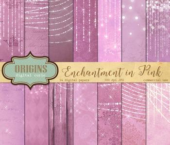 Pink Fairy Lights backgrounds digital scrapbook paper fant