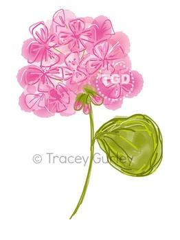 Pink Geranium Original Art - Digital Download Printable Tr