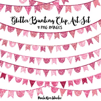 Pink Glitter Bunting Clip Art