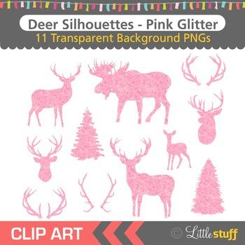 Pink Glitter Deer Silhouette Clipart, Deer Head Silhouette
