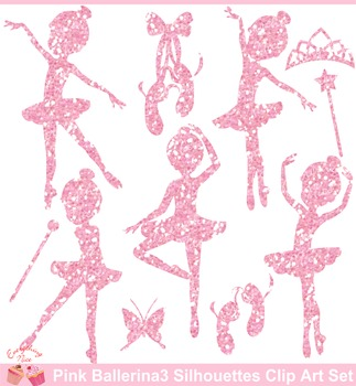 Pink Glitters Ballerina Silhouettes 3 Clipart Set
