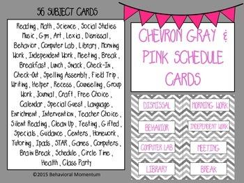 Pink & Gray Chevron Schedule Cards