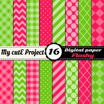 Pink & Green Flashy DIGITAL PAPER - Scrapbooking- A4 & 12x