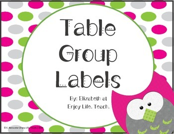 Pink & Green Owl Table Group Numbers