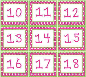 Pink & Green Polka Dots Pocket Chart or Wall Calendar Set