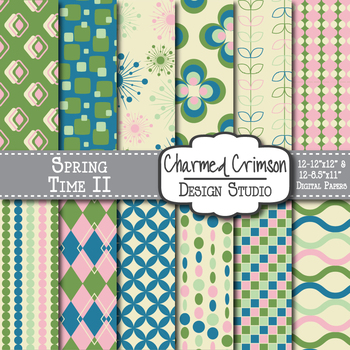 Pink, Green and Blue Retro Digital Paper 1217