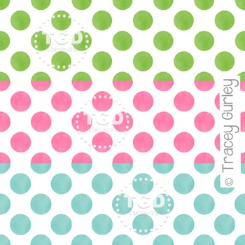 Pink, Green, and Turquoise Watercolor Polka Dot Pattern on