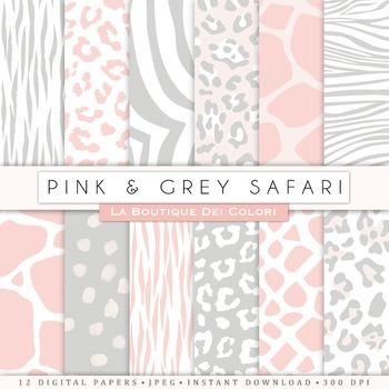 Pink & Grey Animal Prints Digital Paper, scrapbook backgrounds.