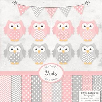 Pink & Grey Owl Vectors & Papers - Baby Owl Clipart, Owl C