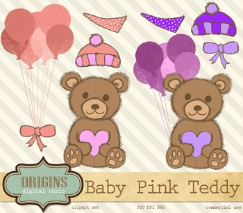 Pink Hand Drawn Teddy Bear Clipart