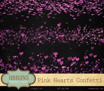 Pink Hearts Confetti Digital Overlays Valentine Clipart