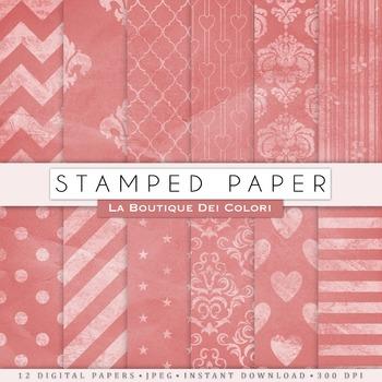 Pink Kraft Digital Paper, scrapbook backgrounds