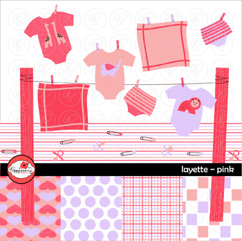 Pink Layette Clipart by Poppydreamz