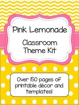 Pink Lemonade (Pink and Yellow) Classroom Theme Kit- EDITABLE