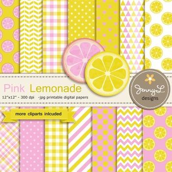 Pink Lemonade, Lemon Digital Paper and clipart