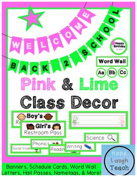 Pink & Lime Green Class Decor Pack