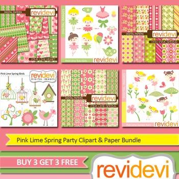 Pink Lime Spring Party Clip art (6 packs) ballerina, birds