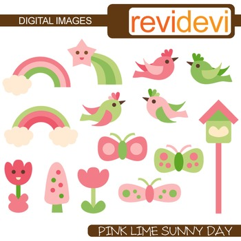 Pink Lime Sunny Day Clip art