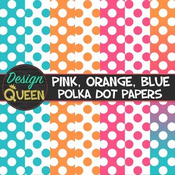 Pink, Orange, Blue Polka Dot Papers