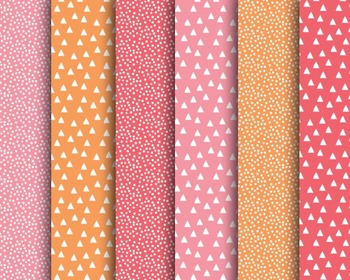 Pink Orange Papers, Dotted Papers, Digital Paper, Pink Ora