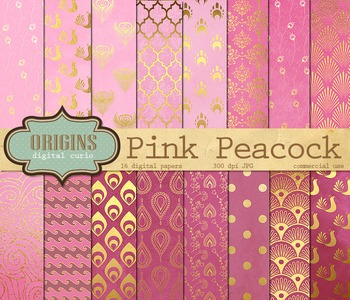 Pink Peacock Digital Paper Backgrounds Pink and gold