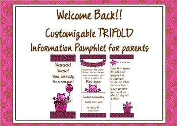 Pink Pig Welcome Back Pamphlet for Parents at Open House